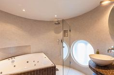 Bathroom, Shower, Glass Door, Stylish Modern Apartment Stockholm, circular bathroom