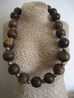 large beads wood necklace choker by ECLOSION on Etsy, $33.00