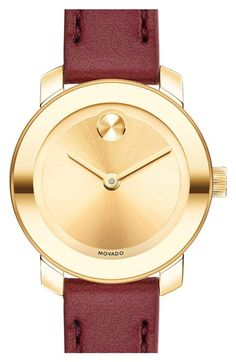 Movado 'Bold' Leather Strap Watch, 25mm available at #Nordstrom