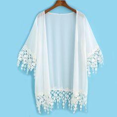Blusas Cardigan Kimonos Japanese Clothes Summer Women's Vogue Tops Solid White Half Sleeve Lace Embellished Loose Kimono