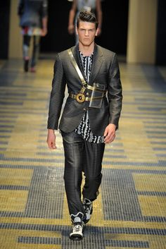 OMG!!!!!! I want this so badly .....  Versace Men's RTW Spring 2013.  Harness redefined.  Lust.    Check out my blog www.abdelicious.com