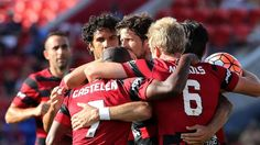 A-League: Western Sydney Wanderers celebrate Jaushua Sitirio's 17th minute goal in the 1-0 defeat of Newcastle Jets on Sunday 13.03.16