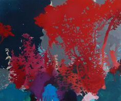 HENRIK S. SIMONSEN, Dark Blue And Red, 2014 Oil and graphite on canvas 110 x 130 cm