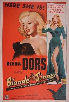"""Blonde Sinner"" - a vintage movie poster from 1956"