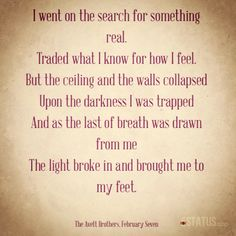 The Avett Brothers...February Seven. So much meaning for us!!