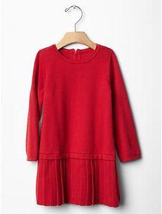 Christmas pleat drop-waist sweater dress | Gap
