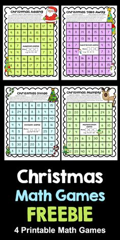 FREE Christmas Math Games from Games 4 Learning - 4 Printable games for addition, subtraction, multiplication and division. Multiplication Games, Multiplication And Division, Math Fractions, Math Board Games, Math Games, Math Centers, Center Rotations, Learning Centers, Fun Learning