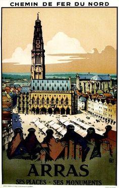Chemin de Fer du Nord - Arras - Ses Places - Ses Monuments - illustration de Charles Hallo -