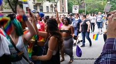 """Nudity and """"Gay Pride"""": Some women dispensed with the pasties and just went topless in the parade. Here a woman dances through the parade route with her bare breasts exposed. We have covered up the nudity here. In more than 20 years of monitoring homosexual """"pride"""" parades and activities, AFTAH has witnessed a lot of public nudity--exactly what you would expect from a revolutionary """"sexual liberation"""" movement."""