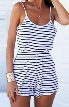 Blue White Spaghetti Strap Striped Jumpsuit - abaday.com