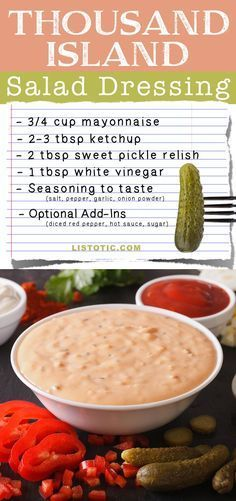 Basic Salad Dressing Recipes (easy and homemade!) Easy Homemade Thousand Island Salad Dressing Recipe -- plus burger or sandwich spread! Easy Homemade Thousand Island Salad Dressing Recipe -- plus burger or sandwich spread! Homemade Seasonings, Homemade Sauce, Homemade Recipe, Homemade Sandwich, Sandwich Recipes, Salad Dressing Recipes, Salad Recipes, 1000 Island Dressing Recipe, Homemade Thousand Island Dressing