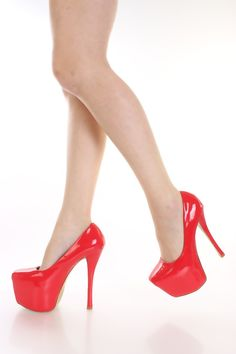 Red Patent Platform Pump Heels