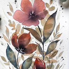 Watercolor Flowers Tutorial, Floral Watercolor, Watercolour, Art Pastel, Watercolor Paintings For Beginners, Guache, Watercolor Illustration, Flower Art, Painting & Drawing