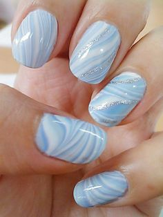 nail paint, nail polish, pretty, blue, sky, wave, white, shimmer, glitter, nail art, summer, fresh