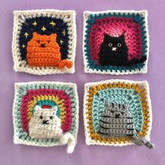 Crochet a Kitty-Cat Granny Square Pillow … So Many Cats … All The Cats! - Crochet a Kitty-Cat Granny Square Pillow … So Many Cats … All The Cats! Baby Knitting Patterns, Crochet Motifs, Granny Square Crochet Pattern, Crochet Blanket Patterns, Crochet Stitches, Afghan Patterns, Crochet Blankets, Afghan Crochet, Crochet Cat Pattern