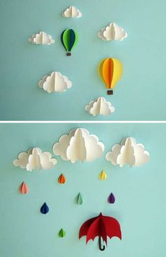 26 DIY Cool And No-Money Decorating Ideas for Your Wall - Superb Clouds and Hot Air Balloon Sculptures Enhancing the Wall of Your Child's Bedroom