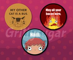 """2.25""""+buttons+from+Totoro,+Howls+Moving+Castle,+&+Ponyo WATERMARK+FREE+"""