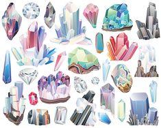 Cristaux diamants et minéraux Clipart 29 300 DPI Vector &