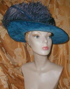 FANCY Edwardian WIDE Brim HAT,BLUE VELVET,Blue Ostrich Plumes & Beaded Sash VGNR