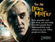 Which Harry Potter character are you? I'm Draco Malfoy! ( awkwardly enough I'm a girl but oh well)
