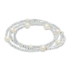 3.0 - 7.5mm Cultured Freshwater Pearl and Brilliance Bead Coil Bracelet in Sterling Silver - 7.5""