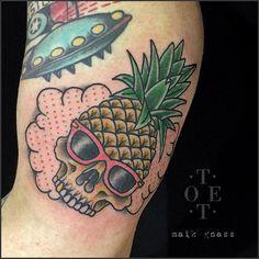 Good old Sonny Crockett pineapple skull for Stefan.  #tattoo #tattoos…