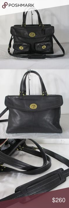 Coach 12980 Hamptons Legacy Laptop Tote Handbag Rare Coach 12980 Leather Hamptons Legacy Laptop Travel Business Bag.  Tote is in very good used condition. Bag has no rips.   Bag has real light random scuffs and marks.  Gold tone brass hardware. Bag has Coach hang tag. Bag has 4 brass feet.  Outside front bag has 3 turn lock closure pocket and back has a full size turn lock pocket. Inside bag has a center zipper pocket, 2 slip pockets and a back wall zipper pocket. Lining has a few light…