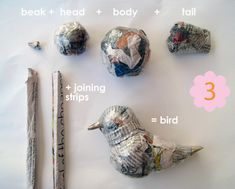 papier mache birds- I can use this to make some cool fascinators XD Paper Mache Projects, Paper Mache Clay, Paper Mache Sculpture, Paper Mache Crafts, Paper Crafts Origami, Bird Crafts, Bird Sculpture, Paper Mache Animals, Bird Mobile