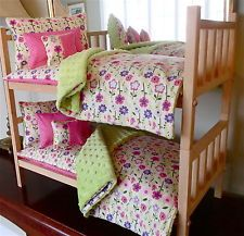 American Made Doll Bed Stackable & 10PC Floral Bedding With Mattresses 18