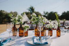 Wine planters | Boho Jewish wedding with a Greek party and midnight bonfire | Smashing the Glass Jewish wedding blog