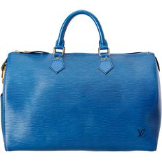 Louis Vuitton Blue Epi Leather Speedy 35 (2.980 BRL) ❤ liked on Polyvore featuring bags, nocolor, blue bag, handle bag, lining bag, long handle bags and hardware bag