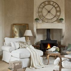 Big oversized chair by the fireplace... so perfectly cozy.