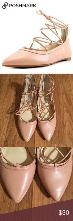 INC Pink Lace Up Flats Barely worn. Great condition. INC International Concepts Shoes Flats & Loafers