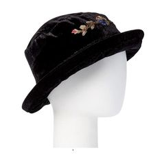 Sophisticated Yet Effortless Design: Will match your refined taste. It is the perfect elegance topper. Large velvet bucket hat with flower embroidery.  Impeccable Quality: Soft feel, a sturdy build and a classic look. Favorite accessory for every outfit: Great for both special occasions and casual wear, this hat also goes really well with coats of different styles. Perfect for Fall & Winter: It will stylishly get you through the fall and winter months.