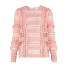 Self-portrait Striped grid guipure-lace top ($305) ❤ liked on Polyvore featuring tops, pink, holiday tops, lace ruffle top, print top, patterned tops and special occasion tops
