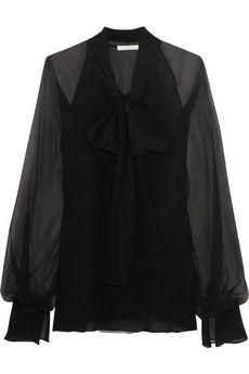 Chloé Pussy-bow silk-georgette blouse | NET-A-PORTER