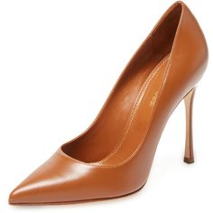 Sergio Rossi Women's Godiva Leather Pointed-Toe Pump - Cognac - Size... ($299) ❤ liked on Polyvore featuring shoes, pumps, cognac, camel shoes, leather pointy toe pumps, pointed-toe pumps, leather high heel shoes and pointed toe shoes