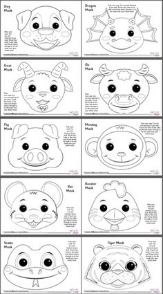 chinese zodiac animal masks set 2 black and white - Chinese New Year Animal Masks Chinese New Year Crafts For Kids, Chinese New Year Activities, Chinese Crafts, Holiday Crafts For Kids, Animal Masks For Kids, Animal Crafts For Kids, Animals For Kids, Mask For Kids, Pig Crafts