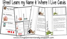Learn my name and where I live printable cards.
