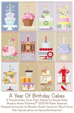 Year of Cakes free cross stitch patterns