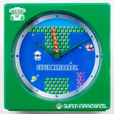 RARE! Super Mario Bros. Mini Desktop Clock Sea Stage Ver. JAPAN Nintendo