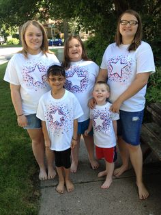 Easy July 4 th T-shirt project ... Cut out a star pattern on a piece of freezer wrap paper. Iron onto a t- shirt. Decorate over and around the star pattern with fabric paint. Let dry then remove the paper pattern.