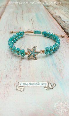 Summer Starfish Bracelet, Summer Boho Chic Bracelet, Starfish Bracelet, Friendship Bracelet by VintageRoseGallery Bohemian Jewelry, Modern Jewelry, Fine Jewelry, Unique Jewelry, Starfish Bracelet, Turquoise Bracelet, Etsy Jewelry, Handmade Jewelry, Jewellery