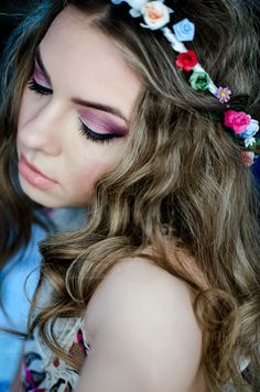 flower crown, flowers, girl, beauty, smile, make-up, pink