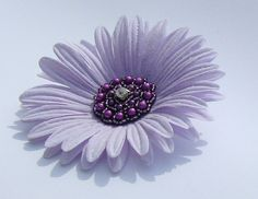 lilac flower hairclip with jeweled center