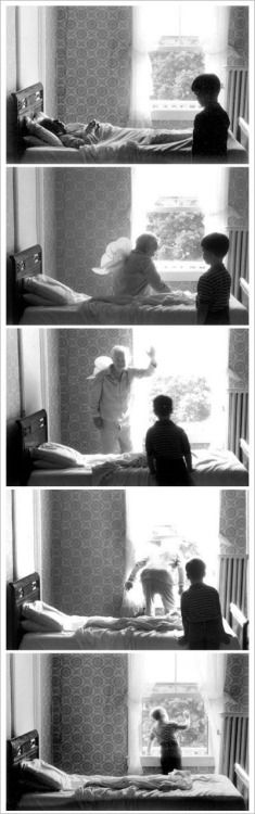 """""""Grandpa Goes to Heaven"""" 1989 Michals has unusual ideas when his photography deals with death and myths. In this photo, it seems as if the grandpa was just in bed and then he jumped or flew out the window, off into heaven."""