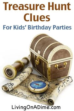How to Host a Treasure Hunt for a Kids' Birthday Party - Living on a Dime To Grow Rich - How to Host a Treasure Hunt for a Kids' Birthday Party – Living on a Dime To Grow Rich Treasure Hunt Clues for Kids Birthday Parties Treasure Hunt Birthday, Scavenger Hunt Birthday, Scavenger Hunt For Kids, Pirate Birthday, Birthday Party Games, Mermaid Birthday, 4th Birthday Parties, Boy Birthday, Scavenger Hunts
