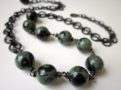 Cold Comfort - dark abstract chunky evergreen teal sage green round kamababa jasper stones and dark black brass chain layered necklace by LoveRoot, $37.00