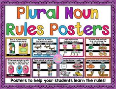 Display these pretty posters in your classroom to help your students remember how to make plural nouns. Free Kindergarten Worksheets, Grammar Activities, Free Teaching Resources, Grammar Worksheets, Maths, Teaching Ideas, Singular And Plural Nouns, Plural Rules, Word Study