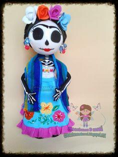 creaciones D Moni: fofucha catrina Frida kalho fomi 3D